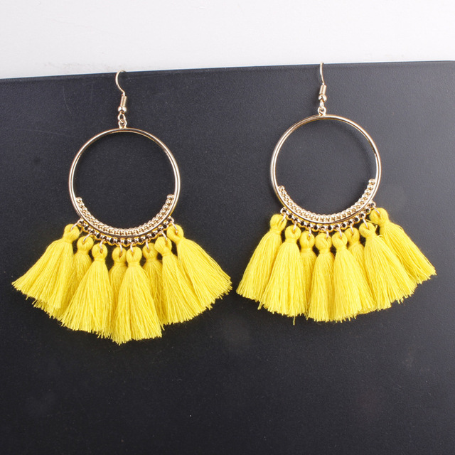 LZHLQ Tassel Earrings For Women Ethnic Big Drop Earrings Bohemia Fashion Jewelry Trendy Cotton Rope Fringe Long Dangle Earrings 2