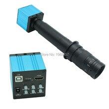 HD 16MP HDMI USB Digital Industry Video Inspection Microscope Camera Set TF Card Video Recorder+10X-300X C-MOUNT Zoom Lens