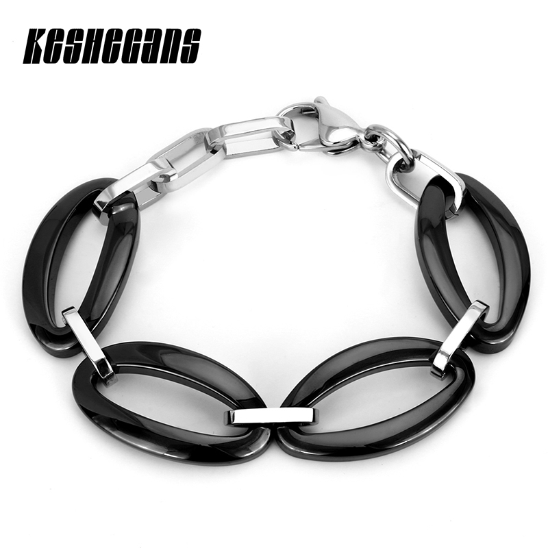 New Big Oval Link Chain Stainless Steel Bracelet Black White Color Ceramic Trendy Women's Bracelet Fashion Jewelry Elegant Gifts trendy top white ceramic bracelet elegant star health care titanium bracelets