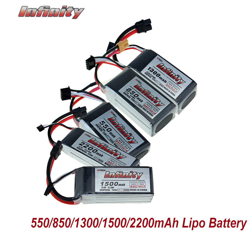 Infinito lipo lítio battey 550/850/1300/1500/2200 mah 3 s 11.1 v 4S 14.8 v 85c xt30 jst sy60 plug para fpv racing drone quadcopter