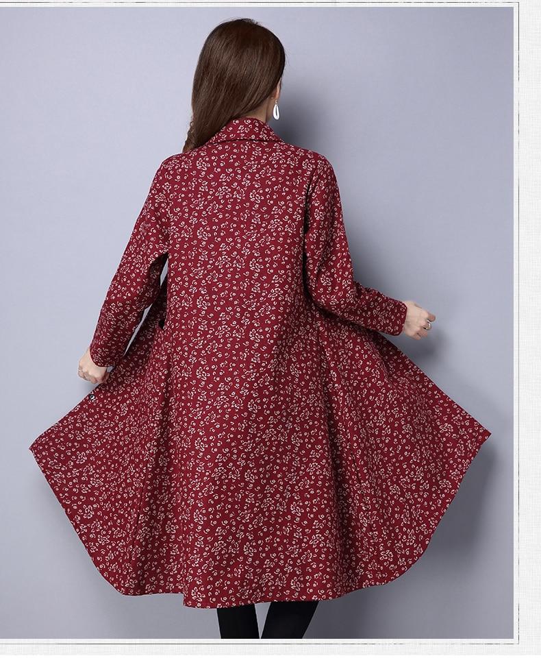 BUYKUD Vintage Shirt-Coats 2018 Autumn Winter New Long Sleeve Printed Coat Office Lady Irregular hem Women Button Linen Coats 8