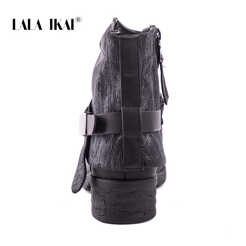 LALA IKAI kışlık botlar kadın 2020 sonbahar siyah Rhinestone Punk yarım çizmeler PU deri toka Platform Botas Mujer XWA2703-4