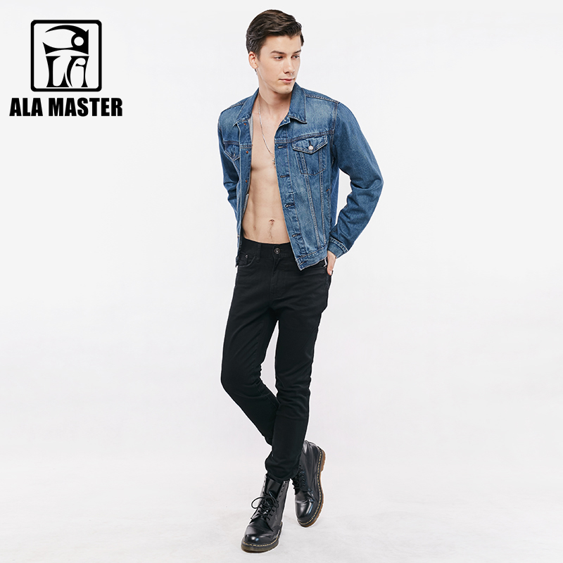 A LA MASTER Skinny Mens Jeans Slim Pleated Fashion Black Mens Jeans Brand Spring Autumn England style Men Pants 2018