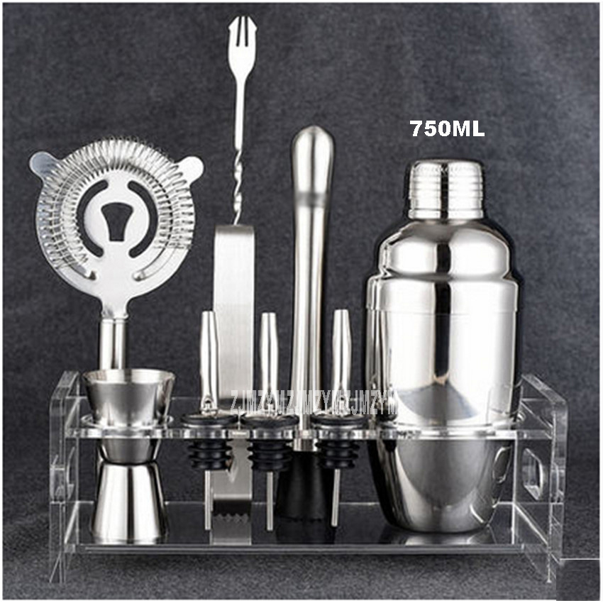 Offre spéciale HY1563a ensemble d'agitateur à Cocktail 750 ML/10 pièces comprend étain, gigue, pince à glace, crépine, support, verseur, Muddler et cuillère