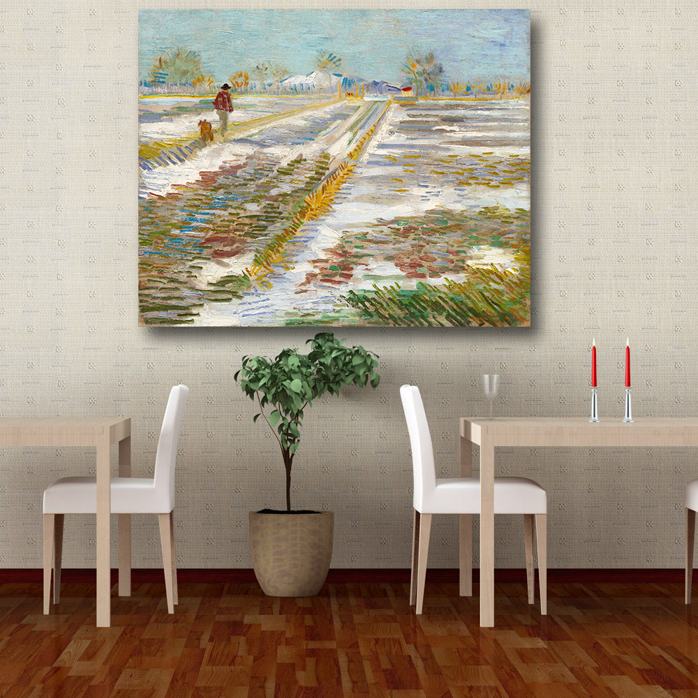 Embelish Landscape Field With Snow on canvas wall painting picture for Living Room posters Oil Painting