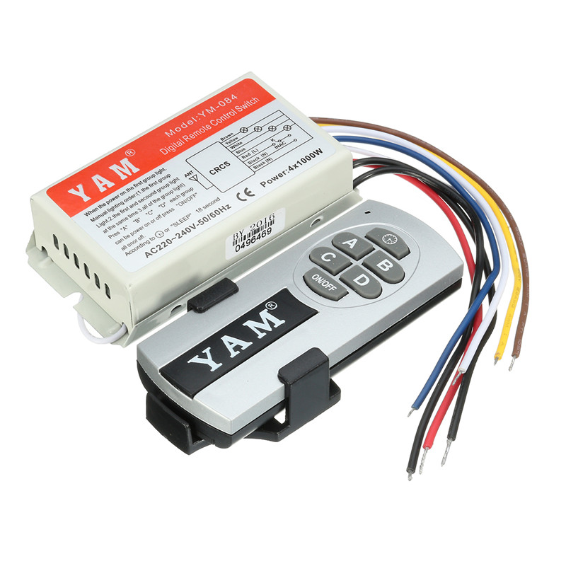 4 Channel Light Wireless ON OFF 220V 240V Remote Control Switch Transmitter Hot Sale