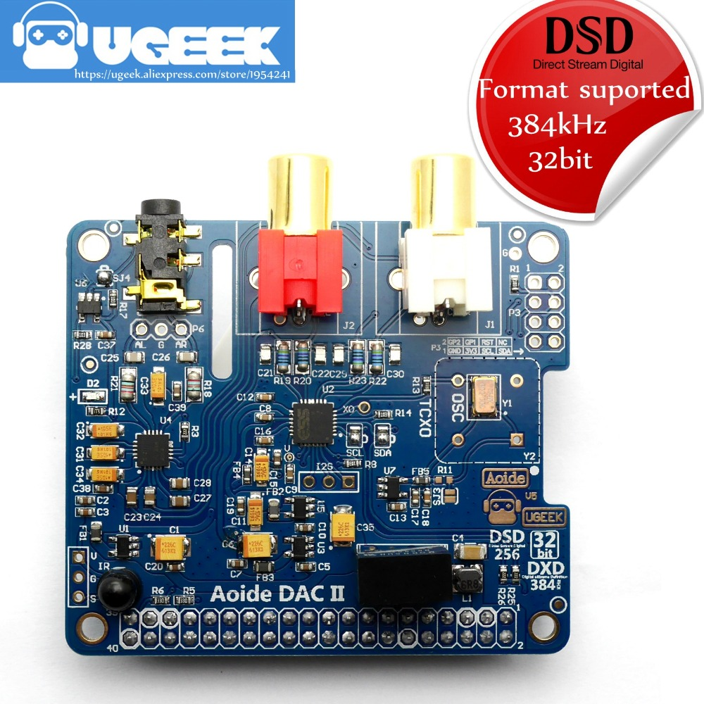 Aoide UGEEK DAC II sonido de alta fidelidad tarjeta   ES9018K2M   384 kHz/32-bit   Alta Resolutio   formato DSD apoya   para Raspberry Pi 3 Modelo B/3B/2B