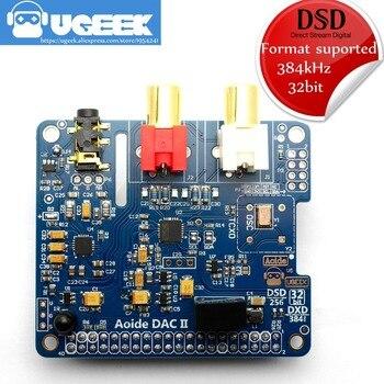 Cartão de som aoide ugeek dac ii hi-fi | 384khz/32 bits | alta resolutio | suporte dsd | para raspberry pi 3b/2b/3b +/3a +/4b | dacii