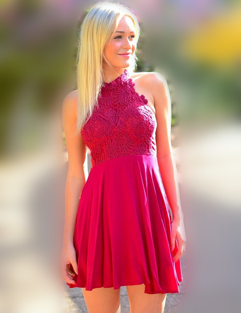 Aliexpress buy short real lace appliques short fuchsia aliexpress buy short real lace appliques short fuchsia bridesmaid dresses for wedding party simple mini cheap halter bridesmaid dresses 2016 from ombrellifo Choice Image