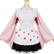 Brdwn Ccarcaptor Sakura Girls Kinomoto Cosplay Costumes Strawberry Kimono Apron Dress(Top+Apron+Skirt)