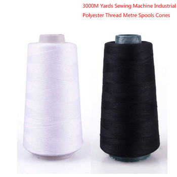 Durable 3000M Yards Overlocking Sewing Machine Line Industrial Polyester Thread Metre Cones image