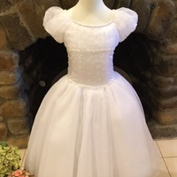 New Arrival Scoop Neck Crystal Pearls Beaded Satin Tulle Girl First Communion Dress Cup Sleeves Buttom Back Kid Ball Gown 2-12 Y