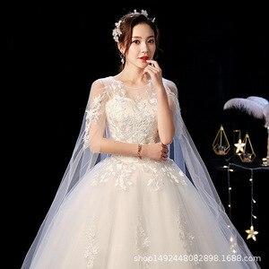 Image 3 - Robe de mariee lindo vestidos de casamento vestido de baile o pescoço rendas acima com apliques jaqueta mariage vestidos de noiva casamento 2020