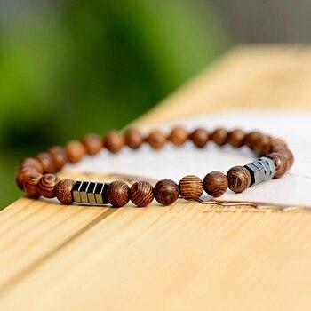 2019 Classic Women 6MM Natural Wood Beads Bracelet Men Ethnic Hematite Lava Stone Bracelet Homme Prayer Jewelry Yoga Bracelet 3