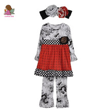 Children Clothing Sets Fall Winter Cotton Boutique Toddler Bib White Polk Dot Pattern Outfits Ruffle Pant With Headband F073