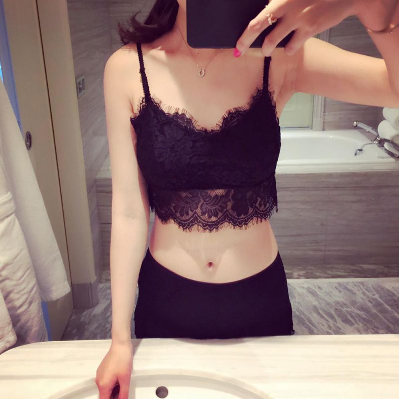 Lace Strapless Crop Tops Sexy Sleeveless Thin Vest Bustier Black Bustier Crop Top Cotton Cropped Top Black  White Camis Femme