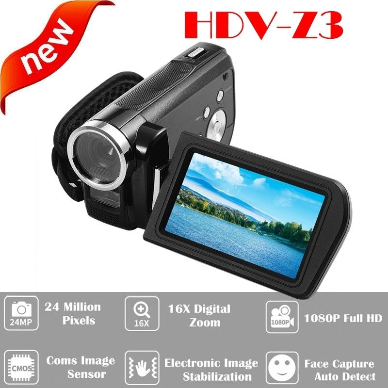 ORDRO HDV-Z3 1080P Full HD Digital Video Camera 24MP 16x Zoom 3.0 HD Screen Free shipping winait electronic image stabilization hdv z8 digital video camera with recording function touch screen
