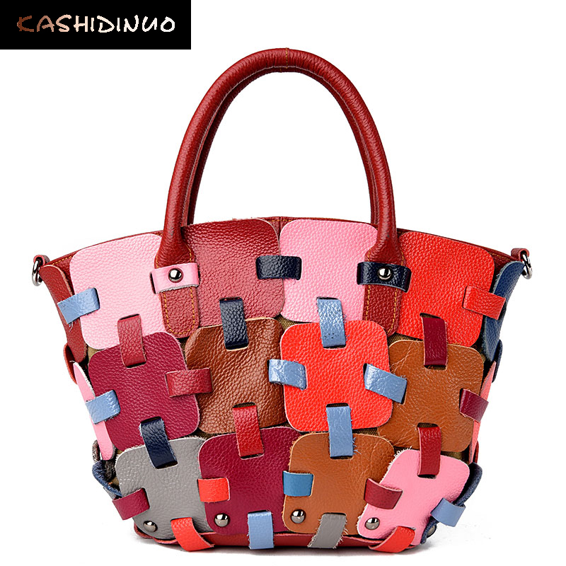 3453ec9c55 KASHIDINUO Brand Luxury Patchwork Women Handbags Cow Genuine Leather Bag  Top Quality Messenger Bag Designer Female