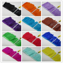 Partihandel Goose Feather Trims 10 meter / Lot Färgade Gäss Feather Ribbons / 15-18cm Fringes Goose Feather Cloth Belt DIY dekorativa