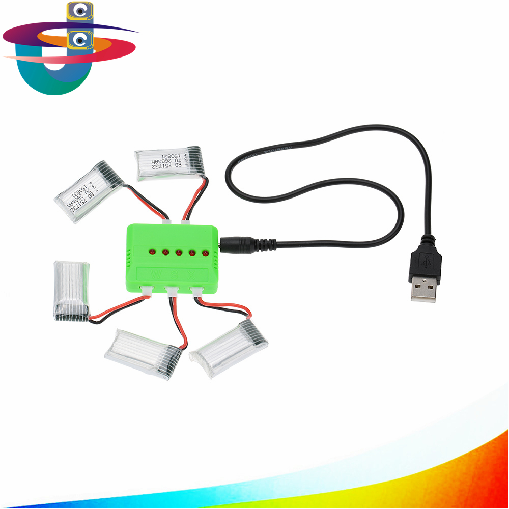 X5 Charger And 5pcs 3.7V 260mAh Lipo Battery Upgraded For JJRC Eachine H8 Mini RC Quadcopter Drone Parts 2pcs new mini rc quadcopter spare parts 3 7v 150 mah for eachine cg023 battery jjrc h8 syma x2 nihui u207 h2