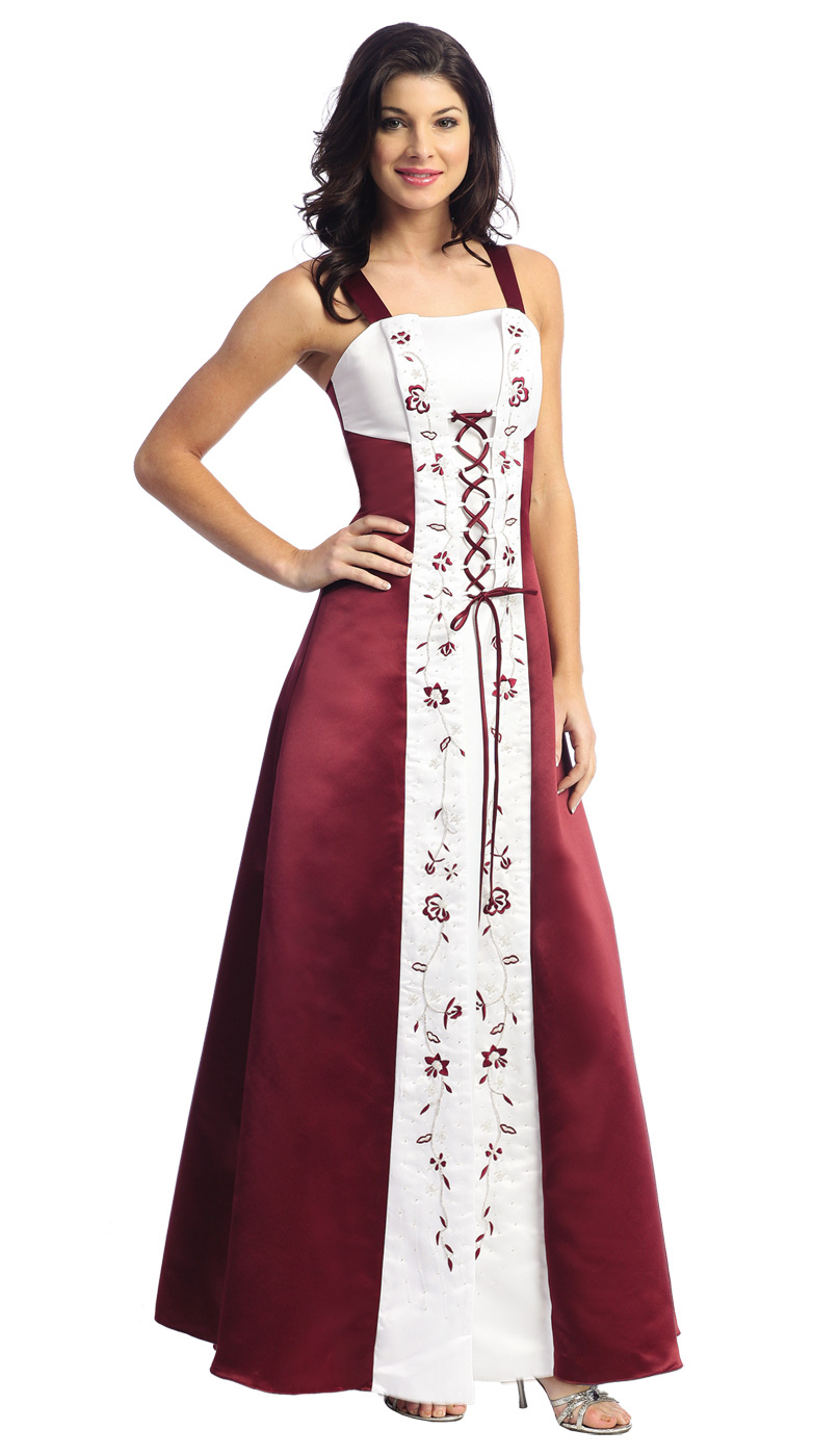 Wine red evening dress picture more detailed picture about spaghetti straps embroider criss cross tie front matte satin wine colored bridesmaids dresses ombrellifo Choice Image