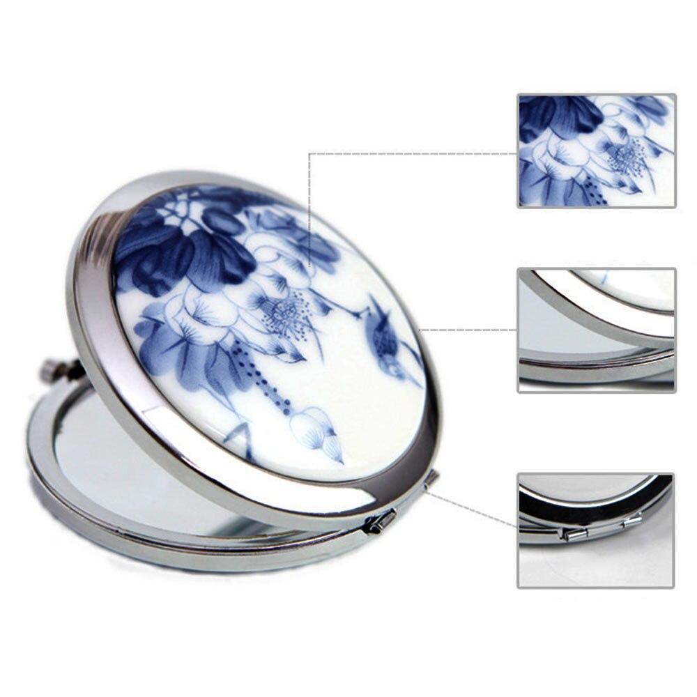 Schminkspiegel Weiß Und Blau Porzellan Spiegel Mini Make-up Compact Taschen Spiegel Doppelseitige Vergrößerungs Falten Make-up Spiegel Spiegel