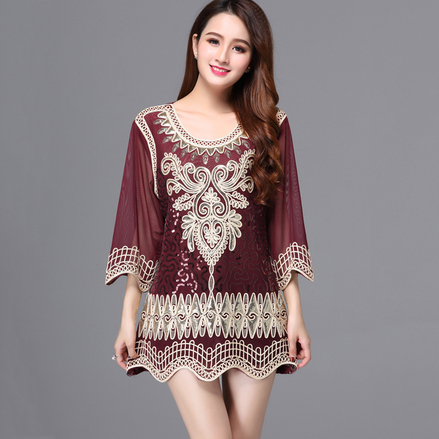 Casual Loose Female Summer Blouse Top 3 4 Sleeve Embroidery Sequin Party Shirt  Tunic Top Plus Size Women Top d026bebe7b2d