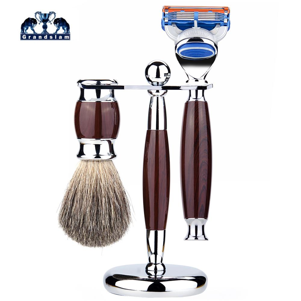Grandslam 3in1 Safety Razor Set Shaving Brush Kit, 5 Layers Manual Safety Razor + Badger Hair Shaving Brush + Razor Holder Stand