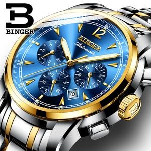 Binger marca de luxo relógio masculino luminoso automático relógios mecânicos à prova dmenágua masculino relógio de aço completo multifuncional azul dial|dial|dial watch|dial clock -