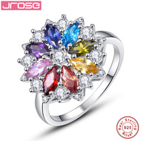 Jrose Brand New 2 11CT Amethyst Garnet Peridot 8 Colors Flower Solid 925 Sterling Silver Gem