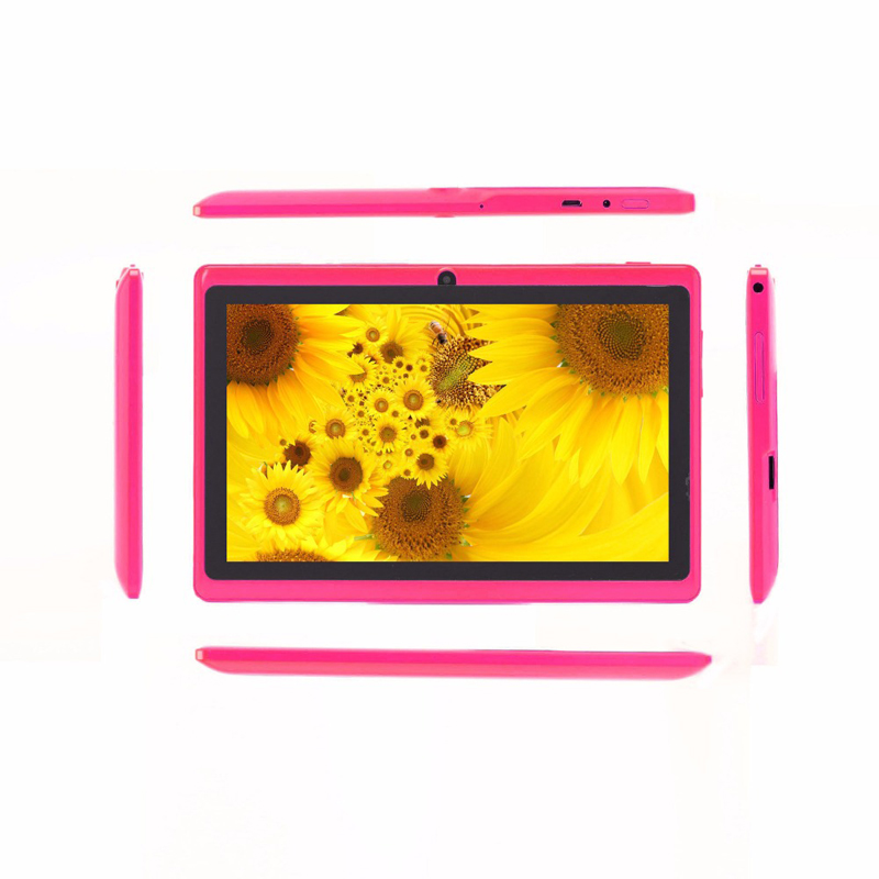 Android 7 Inch Tablet PC Google A33 Quad-Core Bluetooth WiFi FlashTablet PC Have Leather Case Pink Tablets