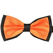 Men Fashion Double Color Bow Tie Adjustable Satin Black Gold Orange Red Color Popular Necktie The New 2018 designer knit bow tie(China)