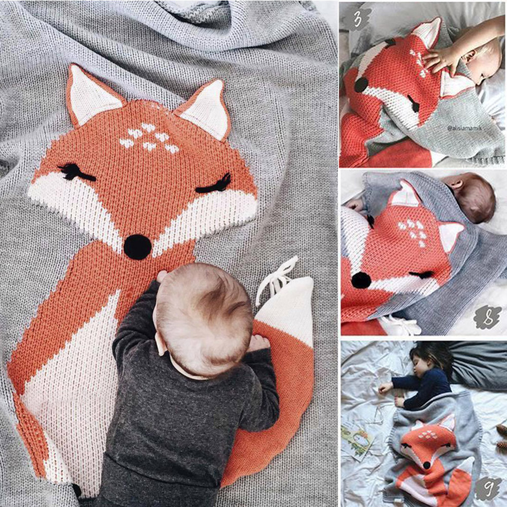 Baby Blanket Portable Lovely Fox Wool Quilt Baby Knitting Blanket Air-condition Blanket Swaddling Sleeping Playing Crawling Mat цена