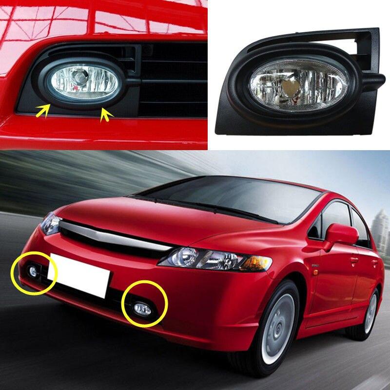 2x For Honda Civic eighth generation models 2006-2008 Front Fog Lamp no Bulbs2x For Honda Civic eighth generation models 2006-2008 Front Fog Lamp no Bulbs