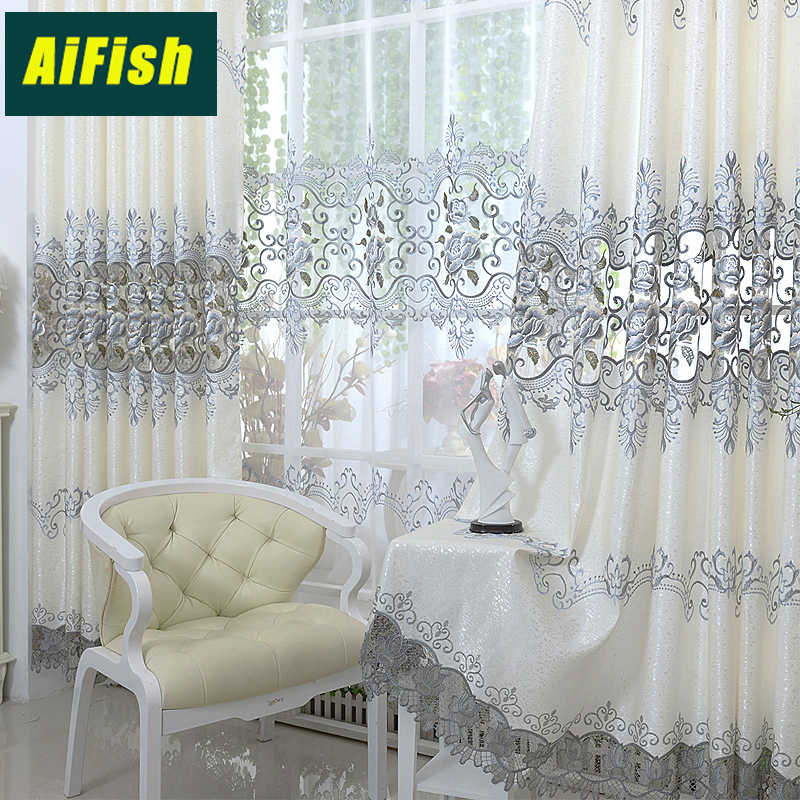 Europe Grey Luxury Embroidered Window Curtains For Living