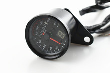 Black Shell White Dial Universal Motorcycle Speedometer Odometer Gauge Backlight Dual Speed Meter With LED Indicator Motocross