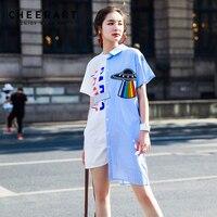 Cheerart Streetwear Shirt Dress Women Summer Blue And White High Low Asymmetrical Dress 2018 Fashion