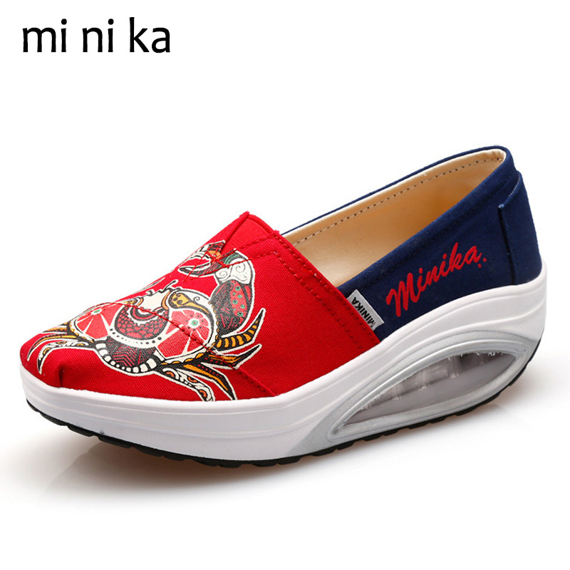 MINIKA Crab Canvas Women Flats Platform Women Boat Shoes Casual Height Increasing Ladies Swing Shoes New 2017 Summer SNE-790 new mesh air women flats summer casual shoes height increasing comfort shoes woman platform ladies shoes