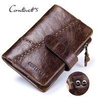 Luxury Mens Wallet Leather Genuine Vintage Short Hasp Bifold Card Holder Key Bag Zipper Coin Male Clutch Purse 2019