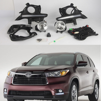1Set Car LED DRL Daytime Running Lights + driving fog lamp light + wiring harness Kits For Toyota Highlander 2014 2015