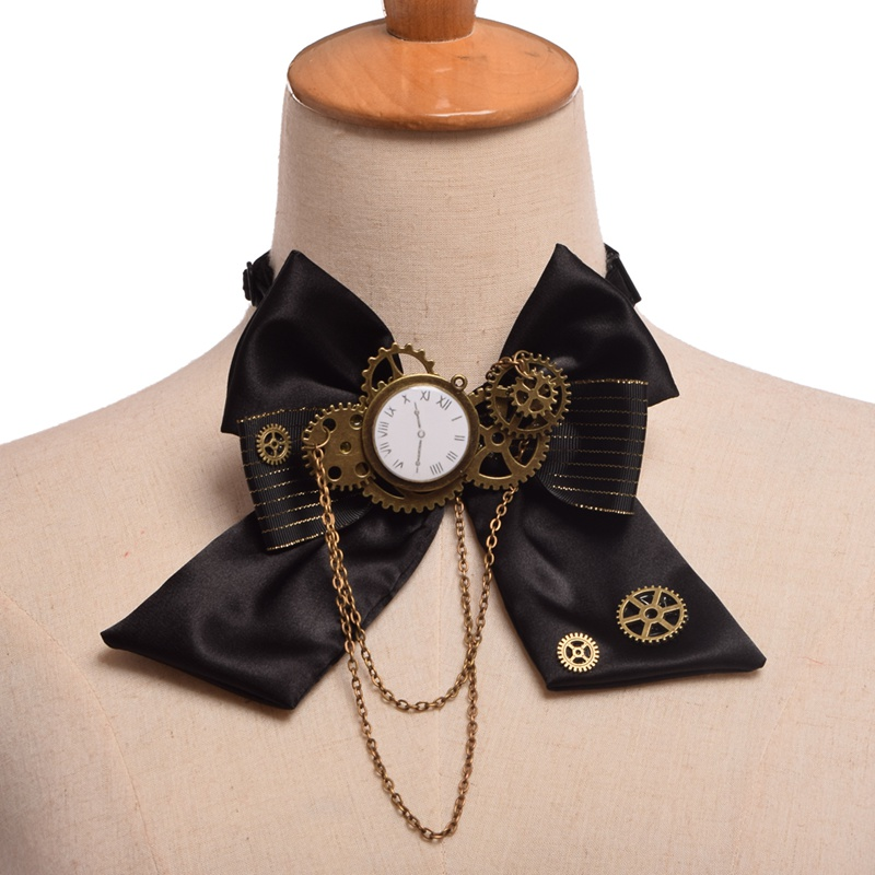 Black Steampunk Bow Tie Vintage Industrial Victorian Lolita Punk Gear Bowknot for Blouse Accessory