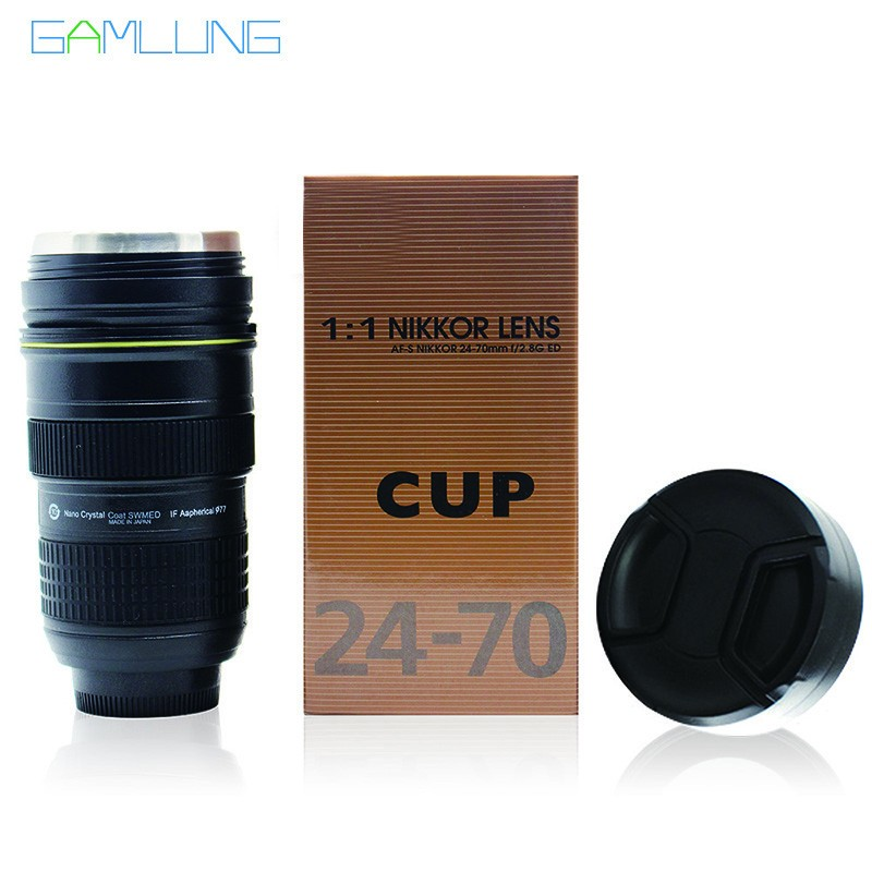 Gamlung Brand Stainless Steel Lens Cup Creative Simulation Camera Coffee Tea Mug With Black Lid Wholesale 60 PCS