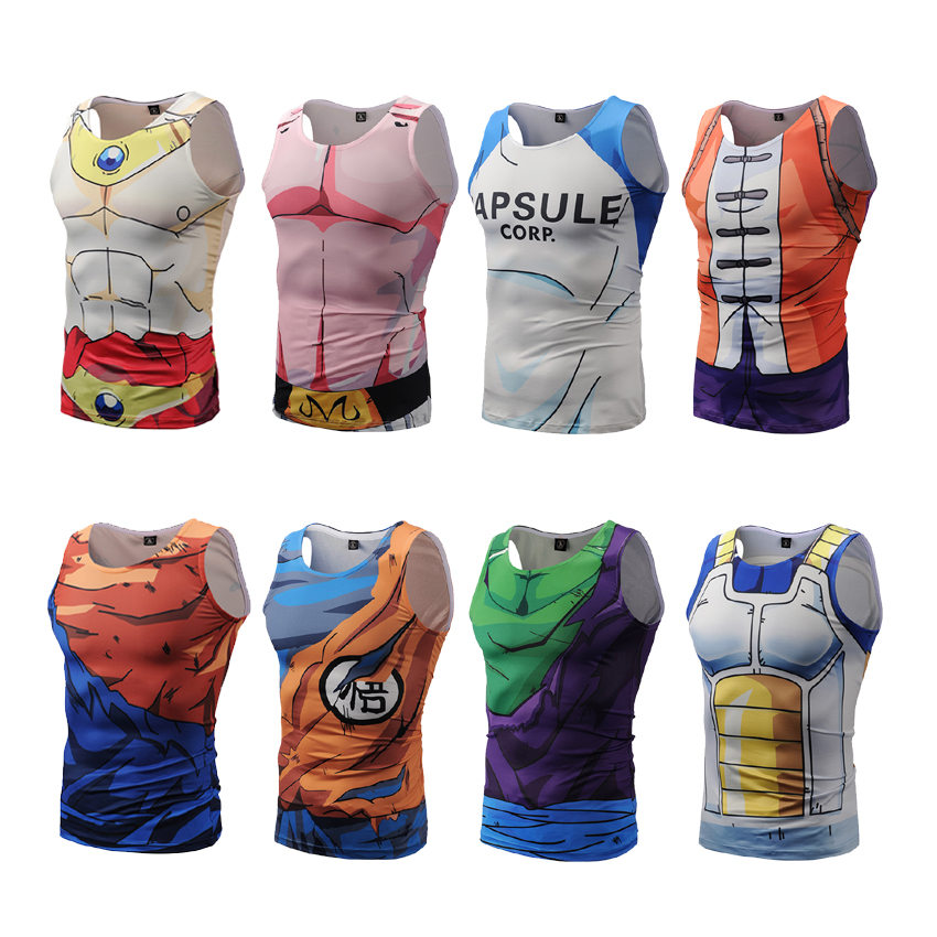 Dragon Ball Z Mens Summer   Tank     Tops   Super Saiyan Goku Majin Buu Vegeta Piccolo Master Roshi Bodybuilding Vest Fitness Jersey