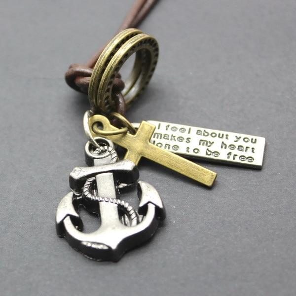 2015 Handmade Black Chain Necklace Hook Pendants Leather Vintage Necklace Men Female Necklace Wholesale