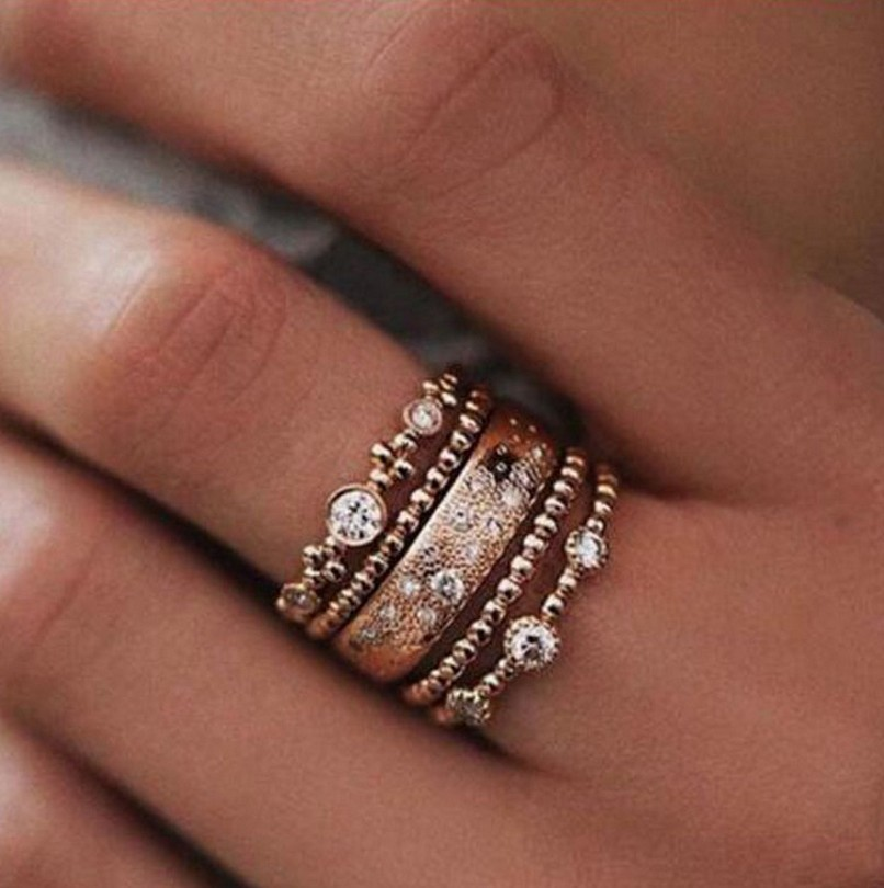 5pcs/set Fashion Women Lady Rose Gold Metal Rhinestone Crystal Elegant Rings Wave Shape Ring Set Jewelry Size 6-10