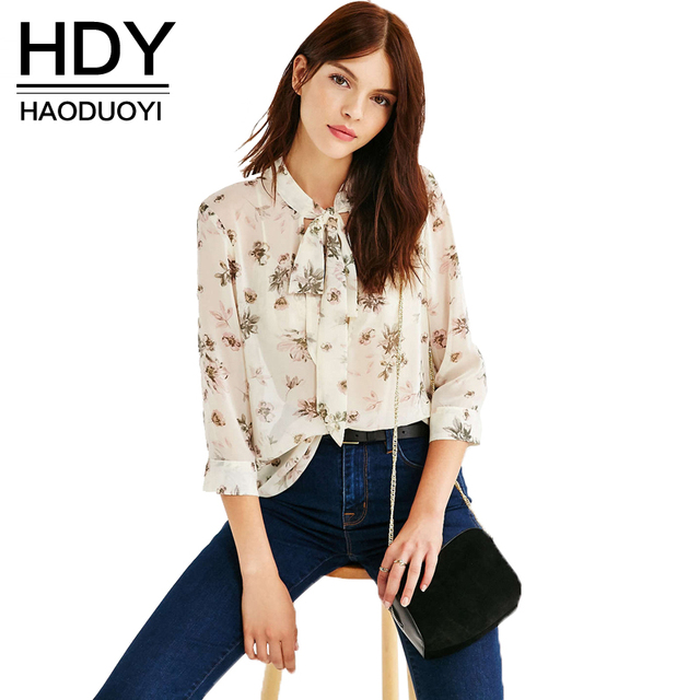 HDY Haoduoyi Fashion Floral Printed Shirts Women 3/4 Sleeve Female Pullover Tops Chiffon V-neck Casual Blouses Shirts