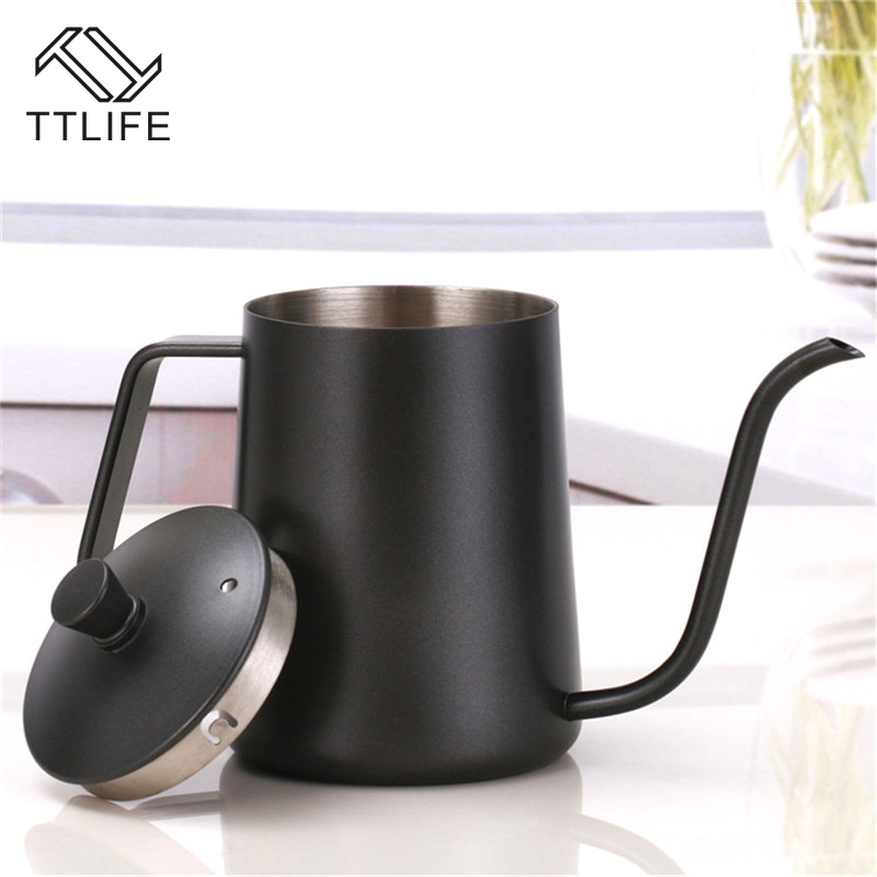 TTLIFE New Style Stainless Steel Long Mouth Coffee Pot Drip Coffee Kettle Pot Teapot for Barista