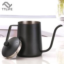 TTLIFE Neue Stil Edelstahl Lange Mund Kaffeekanne Drip Coffee Wasserkocher Topf Teekanne für Barista Hängen Ohr Kaffee Wasserkocher