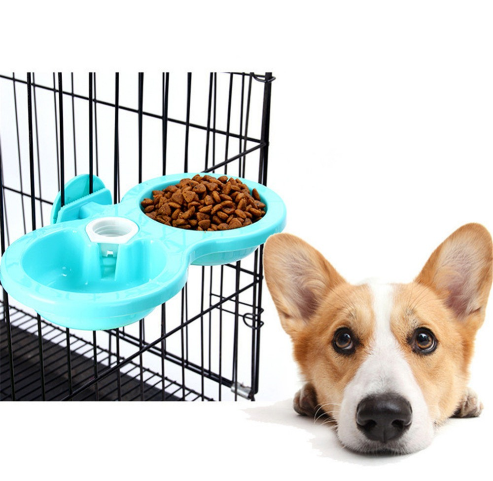 2019 Plastic Pet Dogs Cats Hanging Dish Bowls Feeder For Cage Feeding Watering Non-toxic Material Big Dog Bowl Water Dispenser