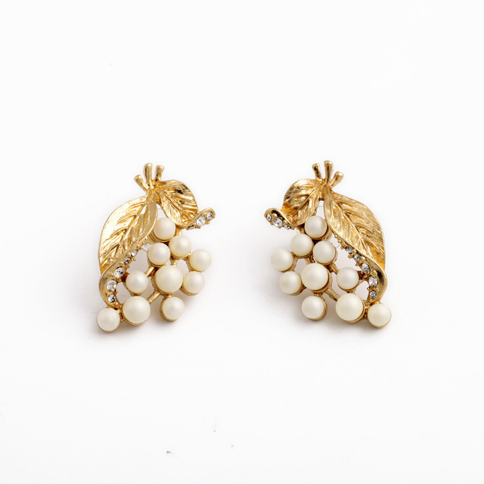 2015 Fashion Luxury Design Gold Leaves Pearl Stud Earrings For ...